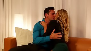 A top heavy blonde milf is fooling around with her eager man