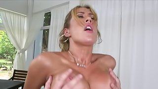 Pornstar on top has gorgeous fake tits and a wet pussy