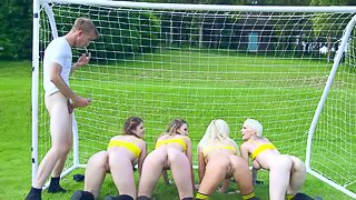 Four magnificent soccer players give their twats to the coach