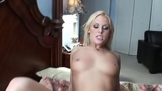 This amazing amateur is pulling a big cock on the bed today