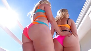 2 hot blondes share a cock