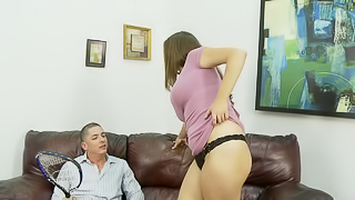 A busty brunette gets undressed and then she gets her tits played with