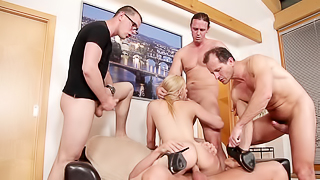 A girl is experiencing 4 cocks in her body at the same time