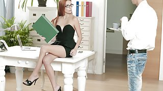 Ginger babe in black gets penetrated