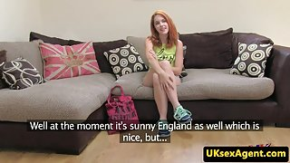 Ginger euro pussypounded in office by agent