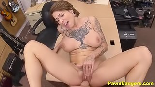 Hot Big Titty Milf Sucks & Fucks Huge Cock In Pawn Store For Cash